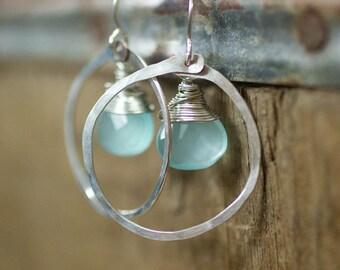Silver Earrings, Jewelry, Blue Glass Earrings, Gift for Her, Simple Jewelry