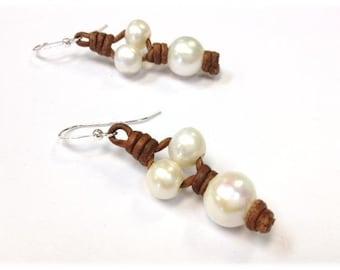 SALE - Leather and Pearl Earrings - Genuine Freshwater Pearl - RumPai 1 (ET45-NP)