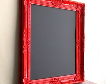 Red Magnetic CHALKBOARD Framed Chalkboard Menu Kitchen Black Board Wedding Sign Baroque Red Kitchen Decor Framed Chalkboard - MORE COLORS