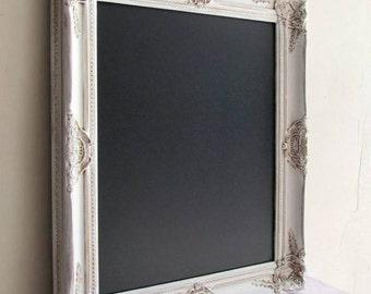 Framed CHALKBOARD Wedding Chalk Board Menu Vintage Wedding Sign Ivory Distressed Framed Chalkboard Shabby Chic White Kitchen - READY to SHIP
