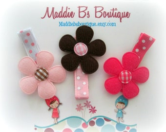 Flower hair clips Pink & Brown flowers- Made by Maddie B's Boutique on Etsy