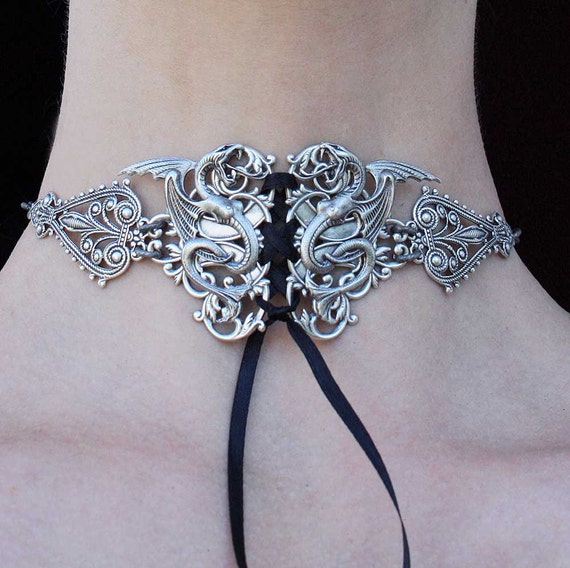 Steampunk choker Tattoo Snake necklace Gothic neck corset