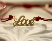 Love adjustable bracelet in 16kt Matte gold plated charm and waxed irish linen cord