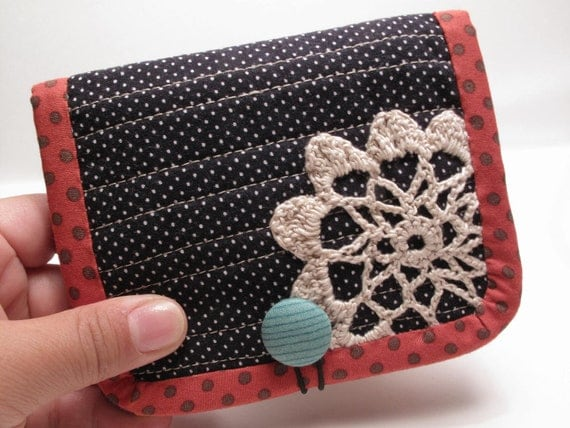 black and red cute romentic doily patchwork billfold  Wallet