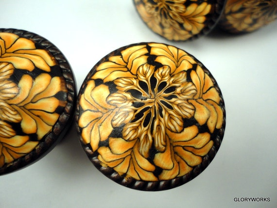For KATHY 35 Uniquely Beautiful    Cabinet Knobs/Pulls  Ready to Ship    Polymer Clay/ Metal  Wheat on Black