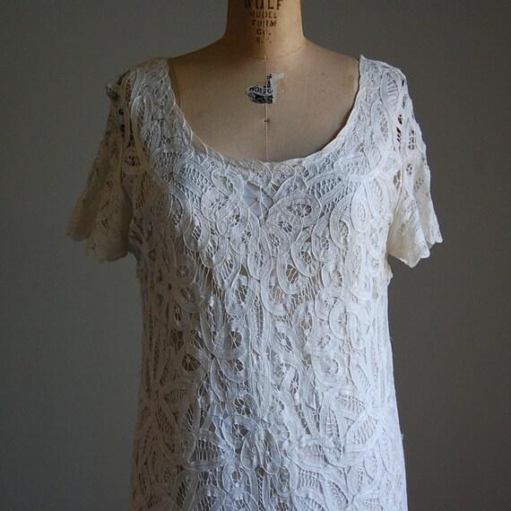 1990s CROCHET LACE modern flapper dress M