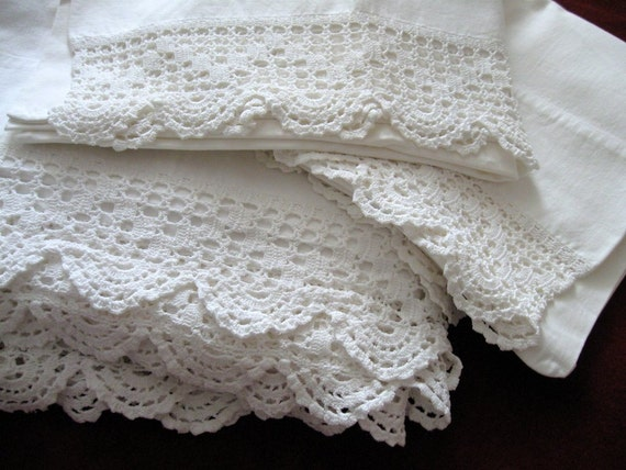 Vintage Crocheted Sheet Pillowcases White Cannon Trim