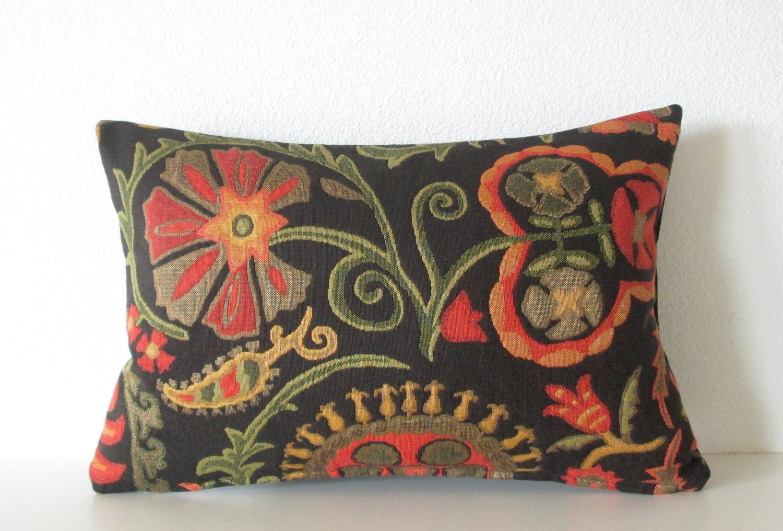 Decorative pillow cover Suzani pillow 12x18 Black Red