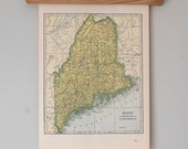 1940s Antique Maps of Maine, Maryland, Delaware and Washington DC