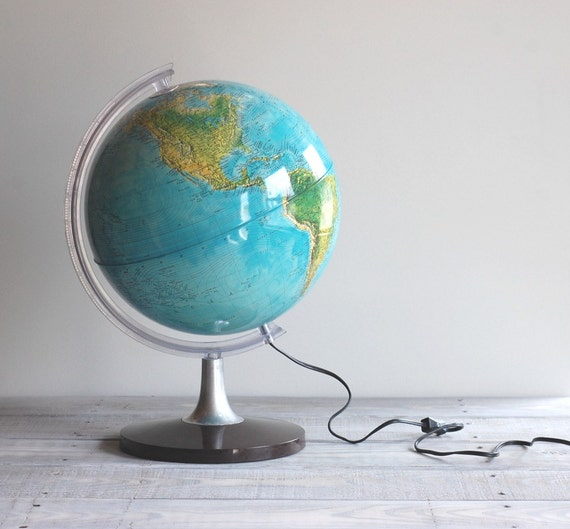 Vintage Illuminated World Globe / Rand McNally Electric Light Globe