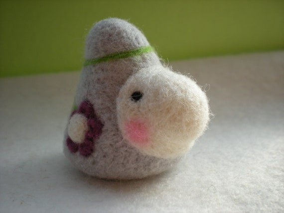Prissy  -- Needle Felted Jaunty Gnome Natural Toy