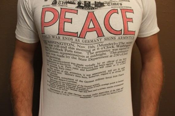 Vintage News Article 1918 WWI Peace TShirt