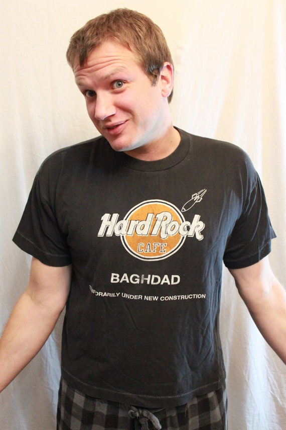 SALE ITEM Vintage 90s Desert Storm Hard Rock Cafe Comic Tee Shirt saddam hussein