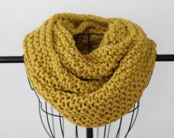 Mustard Hand Knit Chunky Infinity Scarf