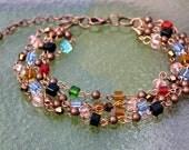 Powerful 7 Chakra Copper and Cube Swarovski Crystals Bracelet
