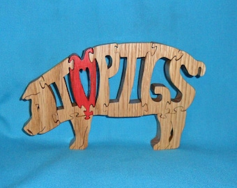 I Love Pigs Scroll Saw Wooden Puzzle