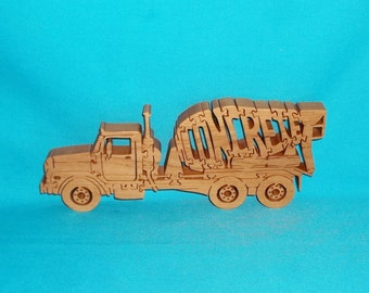 Concrete Truck Wooden Scroll Saw Puzzle