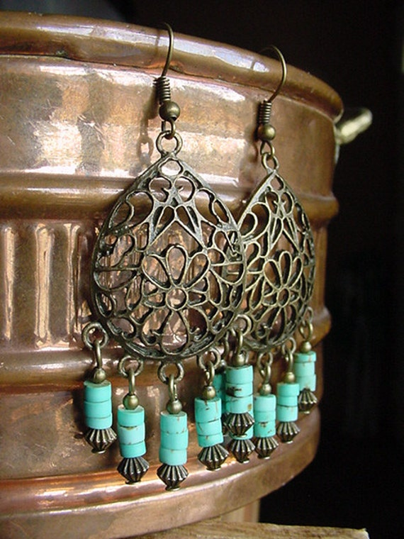 Southwestern Style  //  Turquoise Magnesite Stone / Antique Brass Finish Chandelier Earrings