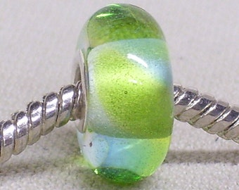 Glass Lampwork Handmade European Charm Bead Watercolor Bead Clear with Blue and Green Silver Cored