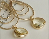 Chandelier Earrings with Faceted Citrine Colored Glass-Mustard-Bamboo-Bridesmaid Jewelry