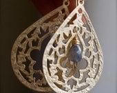 Chandelier Earrings-Golden Boho-Chic Earrings with Labradorite Briolettes