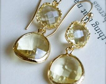 Gold Chandelier Earrings-Gold Encased Citrine Glass-Bridesmaid Earrings-Gift for Her