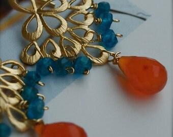 Chandelier Dangle Earrings with Caribbean Blue Apatite and Fiery Orange Carnelian