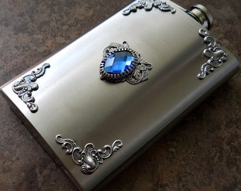 Flask, 8 Oz. Victorian Silver Bejeweled Flask, Gentleman's or Lady's Liquor Flask