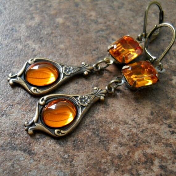 Victorian Topaz Dangle Earrings