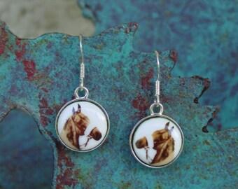 Equestrian Horse Head-Red Rum or John Henry Enamel Earrings Sterling Sivler,Equestrian Jewelry,Horse Earrings
