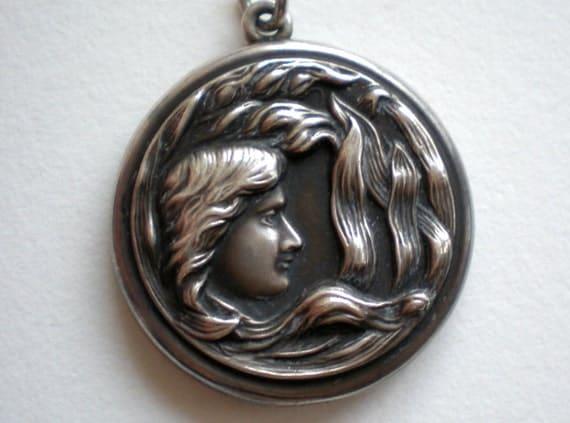 Antique Art Nouveau Sterling Silver Locket