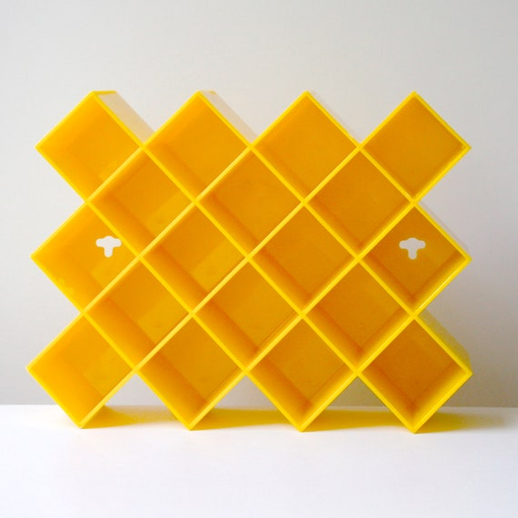 Vintage 70s Yellow Plastic Spice Rack by Copco - Honeycomb Design