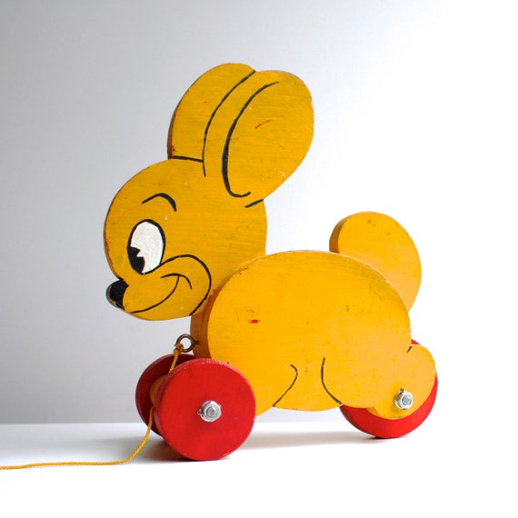 Vintage Pull Toy - Yellow and Red Wood Rabbit