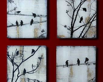 Black Bird Set of 4 Handmade Glass and Wood Wall Blox from Upcycled Dictionary page book art - WilD WorDz - Carriers of the WordSet of 4