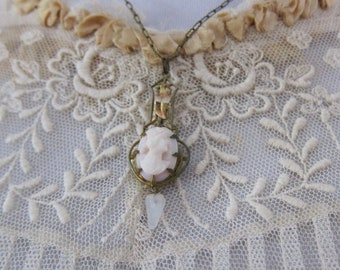 Antique Victorian Cameo Pendant Necklace / 1890s Rose Gold and a Paper Clip Chain Lavalier Necklace