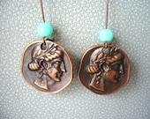 Ancient coin dangle earrings, greek dangle earrings