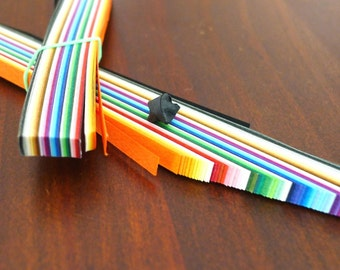 Palette of Rainbow - 84 Assorted Shades Miniature Long Origami Lucky Star Paper Strips - bundle of 84 strips