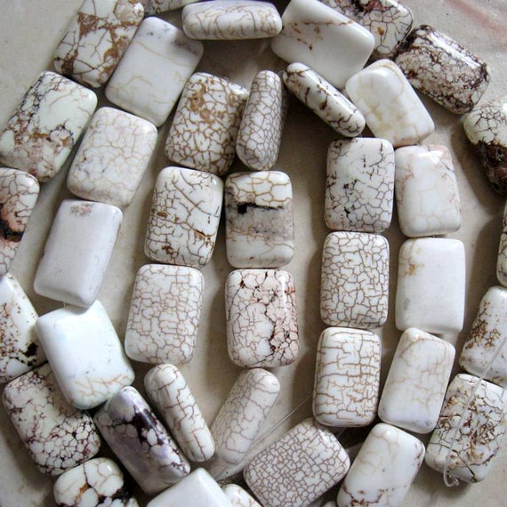 30x20mm, White Magnesite, Puffed Rectangle Beads, Brown Inclusions, 6