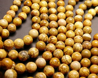 Picture Jasper - 12 mm round beads -1 full strand - 32 beads - RFG704
