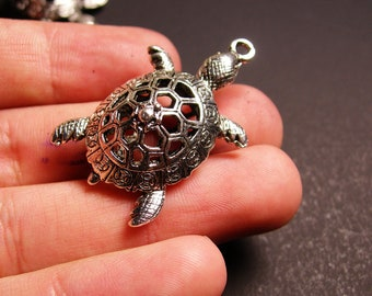 Turtle charm 2 pcs - 39mm by 25mm - hypoallergenic