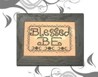 PDF E Pattern Emailed Blessed Be Wicca Goddess Primitive Sampler Cross Stitch Pattern 3 *