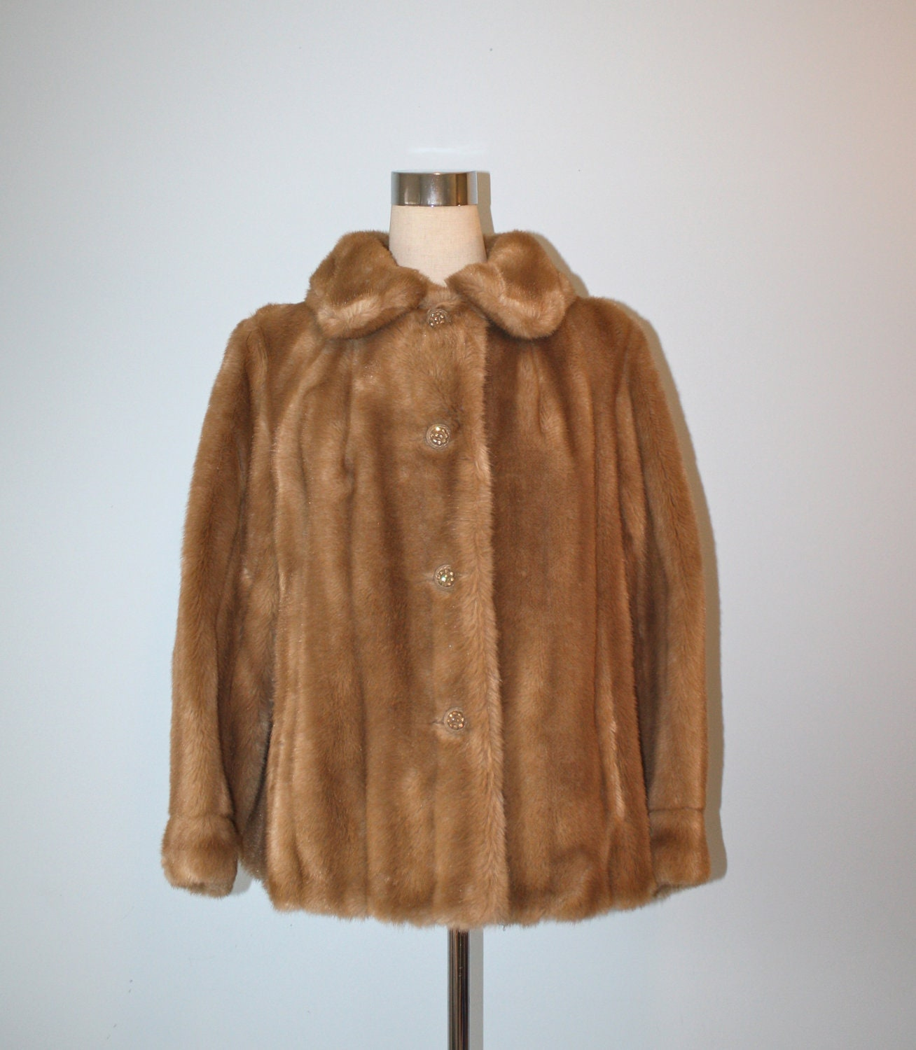 Vintage 1960s Faux Mink Fur Swing Coat 60s By