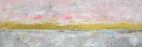 Abstract Landscape Original Painting on Canvas- Long Summer Evening 36 x 12