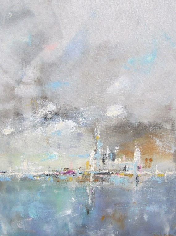 Abstract Cityscape Original Painting- Color Skyline 22 x 28