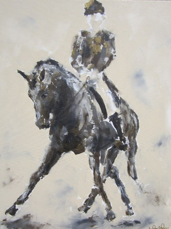 Dressage Horse Painting -Half Pass with Bronze 22 x 28