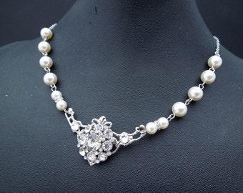 Bridal Rhinestone Necklace, Pearl Necklace, Bridal pearl Necklace, crystal necklace, Pearl Bridal Necklace, Statement Bridal Necklace, SUSAN