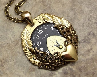 Steampunk Heart Clock Necklace, Black, Gold, Victorian Filigree