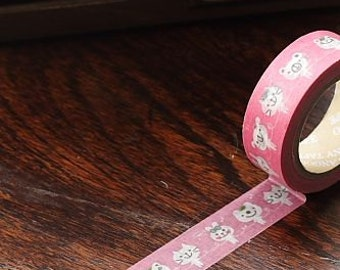 Tape-Washi Tape-Masking Tape-Single Roll-Pink with White cats, bunnies and bears