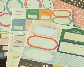 Washi Tape-Sticker Set-Japanese Masking Tape Stickers-Label Stickers