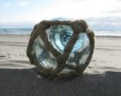 Japanese Glass Fishing Float - Very Old Original Net, Softball Size